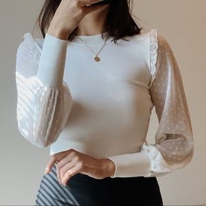 White Topshop puff sleeve blouse
